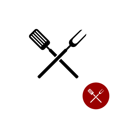 BBQ barbeque tools crossed black simple silhouette. Meat fork with spatula cross. Ilustracja