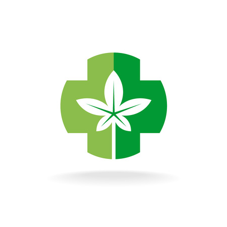 bio safety: Cross and leaves logo. Medical pharmacy symbol with herbal plant leaves silhouette.