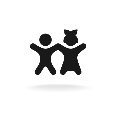 Kids black icon. Happy boy and girl children together silhouettes.