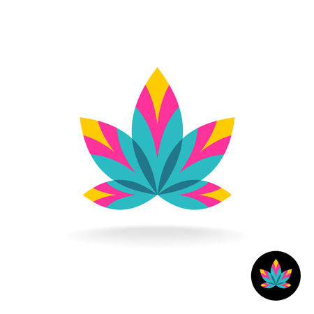 Colorful overlay five leaves zen or spa logo template Иллюстрация