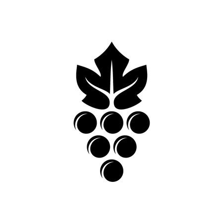 black grape: Grape logo. Violet grape berry with green leaf symbol. Wine sign. Black version. Illustration