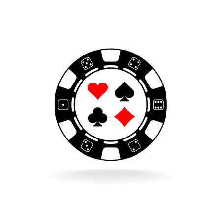 chips: Casino chip logo. Black poker chip with card suits symbols. Illustration