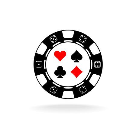 poker chip: Casino chip logo. Black poker chip with card suits symbols. Illustration