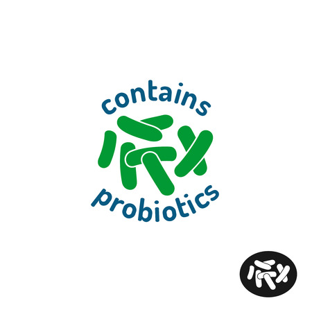 acido: icono de los probióticos. Contiene probióticos logotipo de placas. símbolo de bacterias.