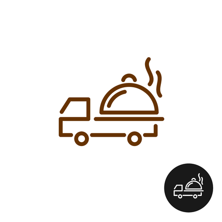 food icon: Food delivery logo. Van car with hot platter and steam. Linear style icon.