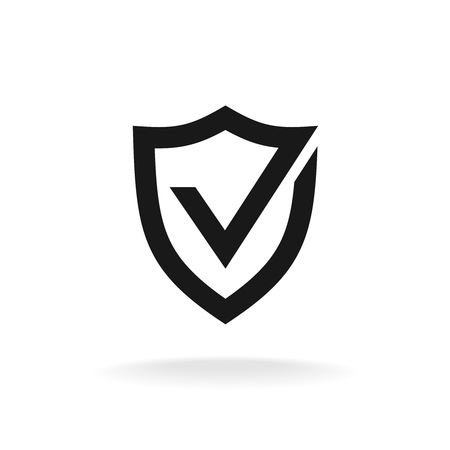 security icon: Shield with check mark black icon. Protection approve sign.