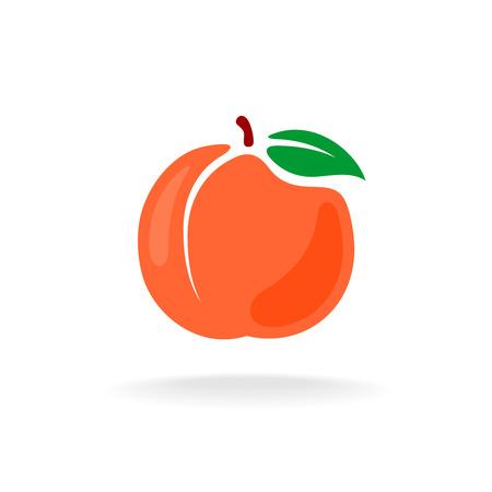 durazno: estilo de dibujos animados de vectores de color melocotón aislado Ilustración de la fruta