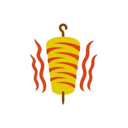 spit: Kebab logo. Doner kebab national turkish meat food meal. Meat spit with hook pole and hot fire flames.