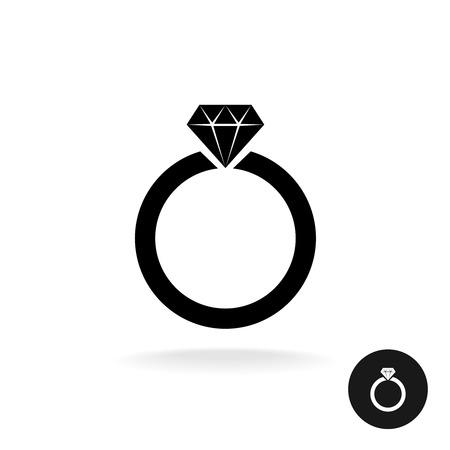anillo de compromiso: anillo de compromiso de boda sencilla icono negro con joyas de diamantes.