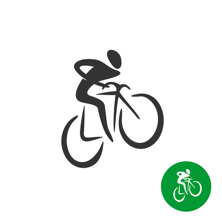bicyclist: Bicyclist black silhouette logo Illustration