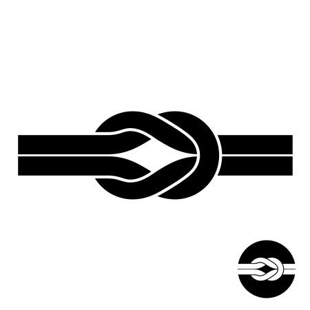 gefesselt: Knoten schwarz-Symbol. Zwei Draht mit Schlaufen-Logo.