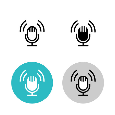 podcast: Podcast icon set. Black studio table microphone with sound broadcast waves symbols. Webcast audio record concept logo.
