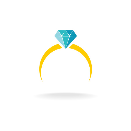 simple logo: Wedding engagement ring simple color logo with diamond jewelry.