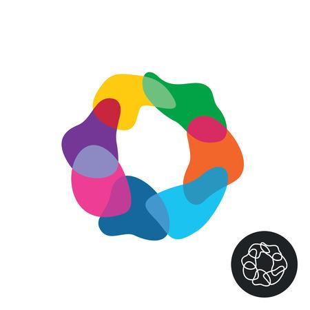 contorno: Resumen de colores del arco iris cifras de superposición transparente redonda