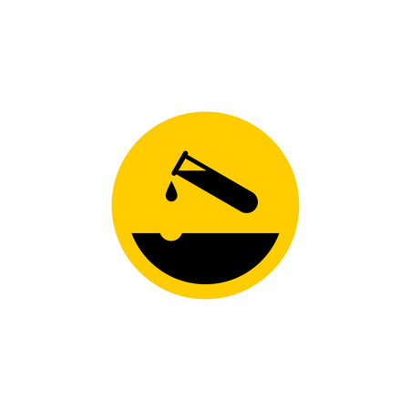 eroded: Warning acid icon. Test-tube with acid drop. Surface with eroded pit.