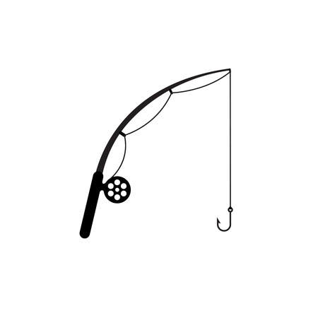 Fishing rod simple silhouette icon. Fishing rod with reel, line and hook. Black color only.