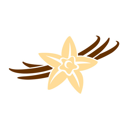 Vanilla wlower met peul kleur silhouet illustratie Vector Illustratie