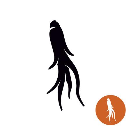 medicina tradicional china: El ginseng planta de raíz sencilla icono ilustración