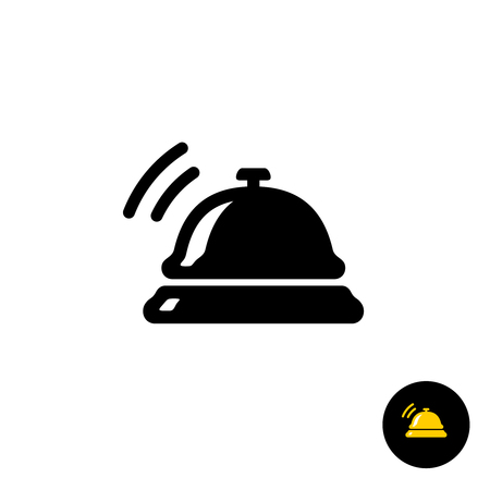 concierge: Hotel bell black icon. Hotel ring call silhouette with sound waves.