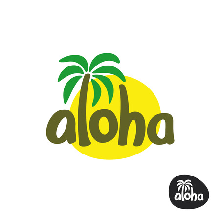 Aloha lettering word with palm tree and sun silhouette behind