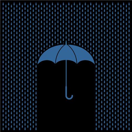 resist: Umbrella with rain at night. Rain water drops and umbrella protect concept.
