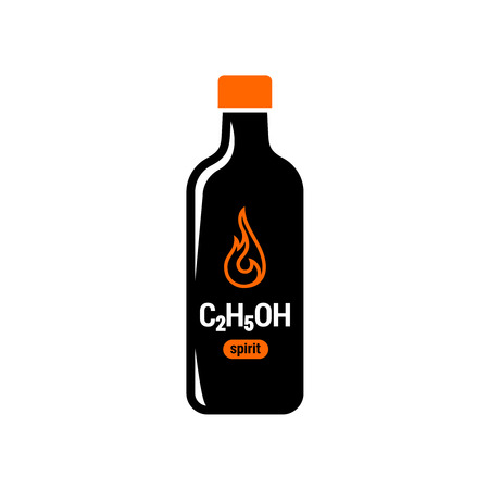 fire symbol: Spirit bottle symbol. Flammable fluid icon with fire sign.