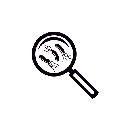 Helicobacter pylori bacteria test symbol. Magnifying glass with bacteria under. Simple black icon. Illustration