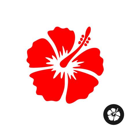 Hibiscus rode bloem illustratie. Tropische bloem silhouet. Vector Illustratie