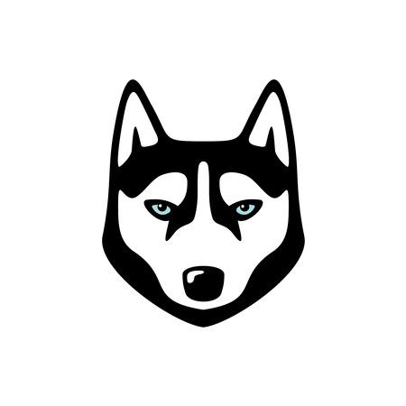 Serious husky dog head. Animal icon.