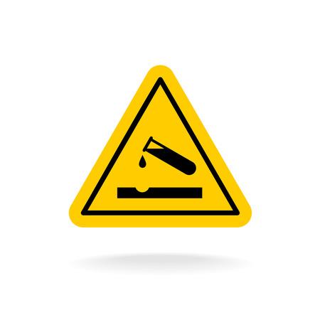 ácido: Señal de peligro del ácido. Triángulo de la química pegatina amarilla. tubo de ensayo con la gota de ácido. Vectores