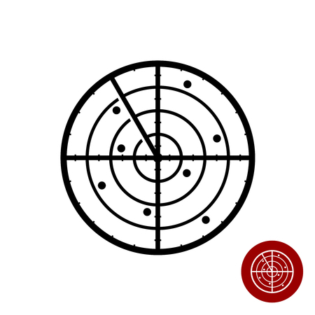 Radar icône. Les lignes noires de symboles de radar simple.