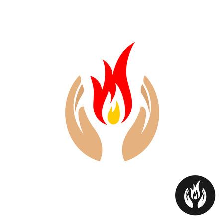 Cura mani con il fuoco dentro il colore. Dolce simbolo il dolore della memoria. Piangono icona.