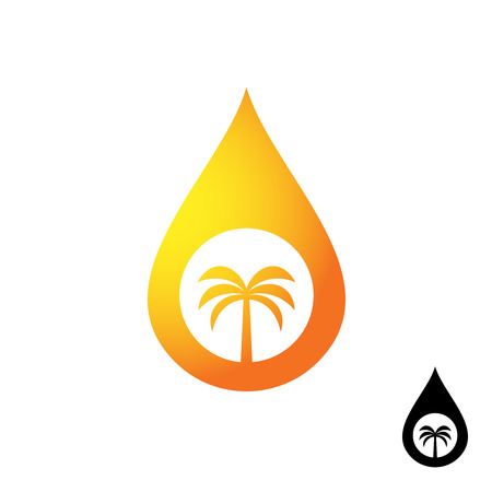 palm oil: Palm oil icon. Oil orange drop with palm tree silhouette.