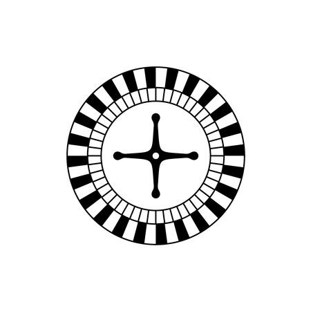 casino wheel: Roulette game casino wheel black icon top view.