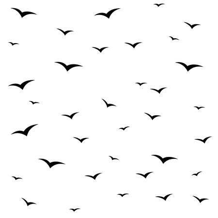 seabird: Seagulls swarm or other black birds silhouette seamless pattern background