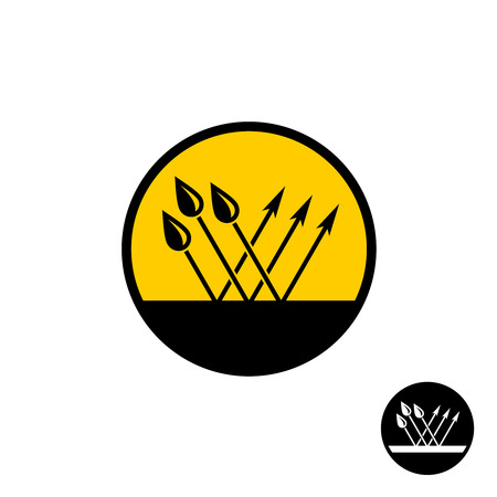 Waterproof symbol. Surface with water drops and bounce arrows. Water resistant concept in a round. Stock Illustratie
