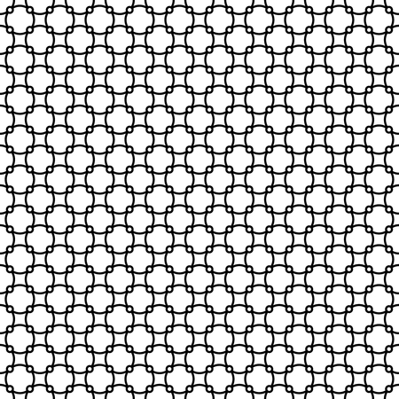 geometric lines: Round linear style links seamless pattern background texture. Black and white colors.