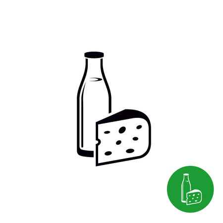 milk products: Milk and cheese isolated black icon. Dairy products illustration. Illustration