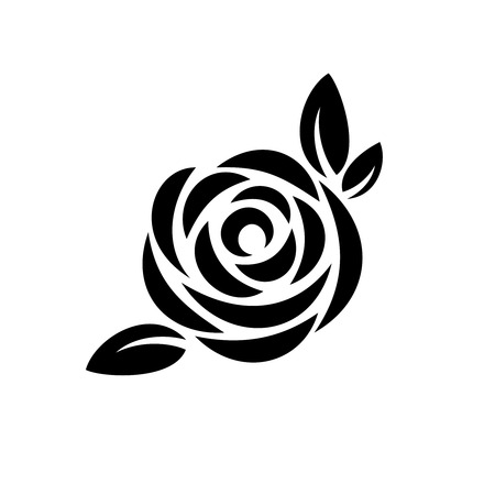 Rose flower with leaves black silhouette