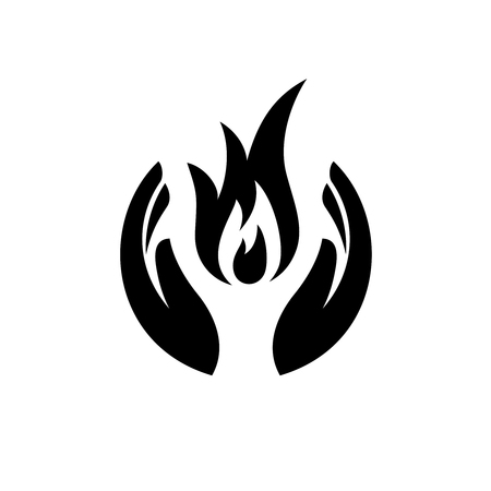worship praise: Care hands with fire inside icon. Sweet memory sorrow symbol.