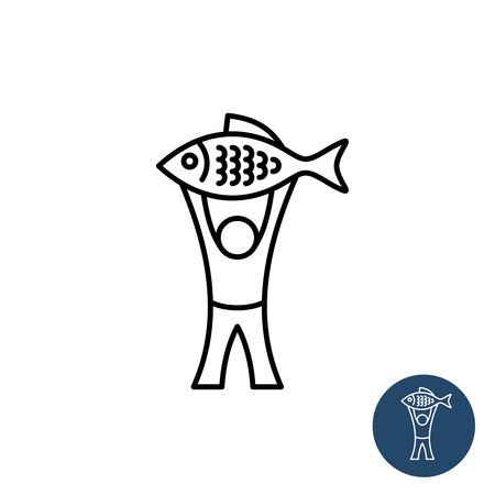 big fish: Fisherman icon. Happy man with big fish black linear style