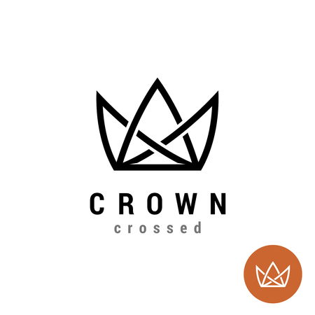 King crown linear. Silhouette of a crown in a line style symbol.