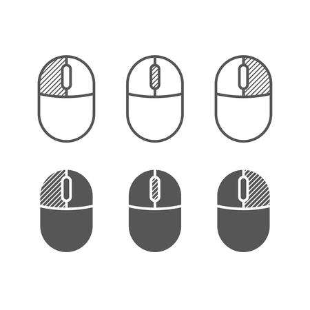 Les boutons de souris d'ordinateur icône. Un des symboles de couleur. Clics gauche et droit, faites défiler les symboles de roue.