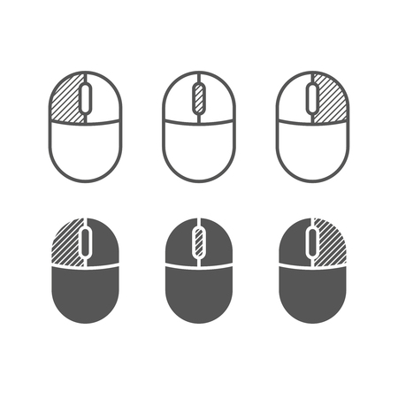 icon buttons: Computer mouse buttons icon. One color symbols. Left and right clicks, scroll wheel symbols.