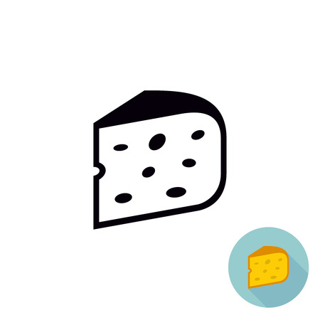 one piece: Cheese black icon. Piece of cheese isolated. One color illustration. Flat version included. Illustration