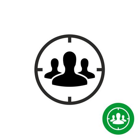Orientar icono de audiencia. Las personas a las cabezas con símbolo de objetivo objetivo alrededor. Ilustración de vector
