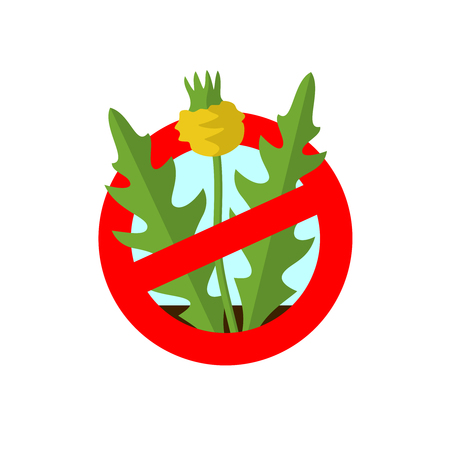harmful to the environment: Lawn weed malicious restriction sign. Garden weed silhouette with red round prohibition sign.