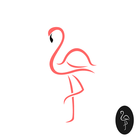 Flamingo elegant. Pink flamingo bird standing on a foot silhouette. Elegant stroke lines style.