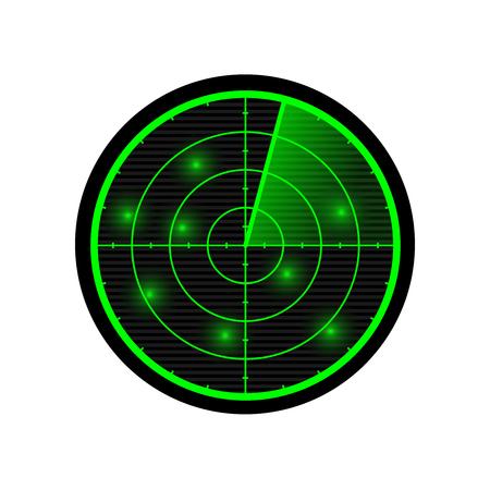 aim: Radar vector illustration. Green radar display isolated on white.