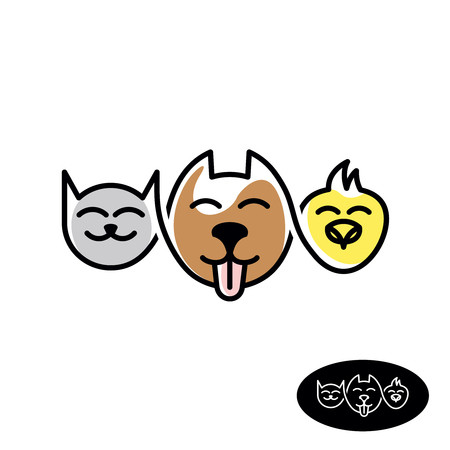 food shop: Pet store. Funny cat, dog and bird heads linear style illustration. Pet food and accessories animal shop concept.